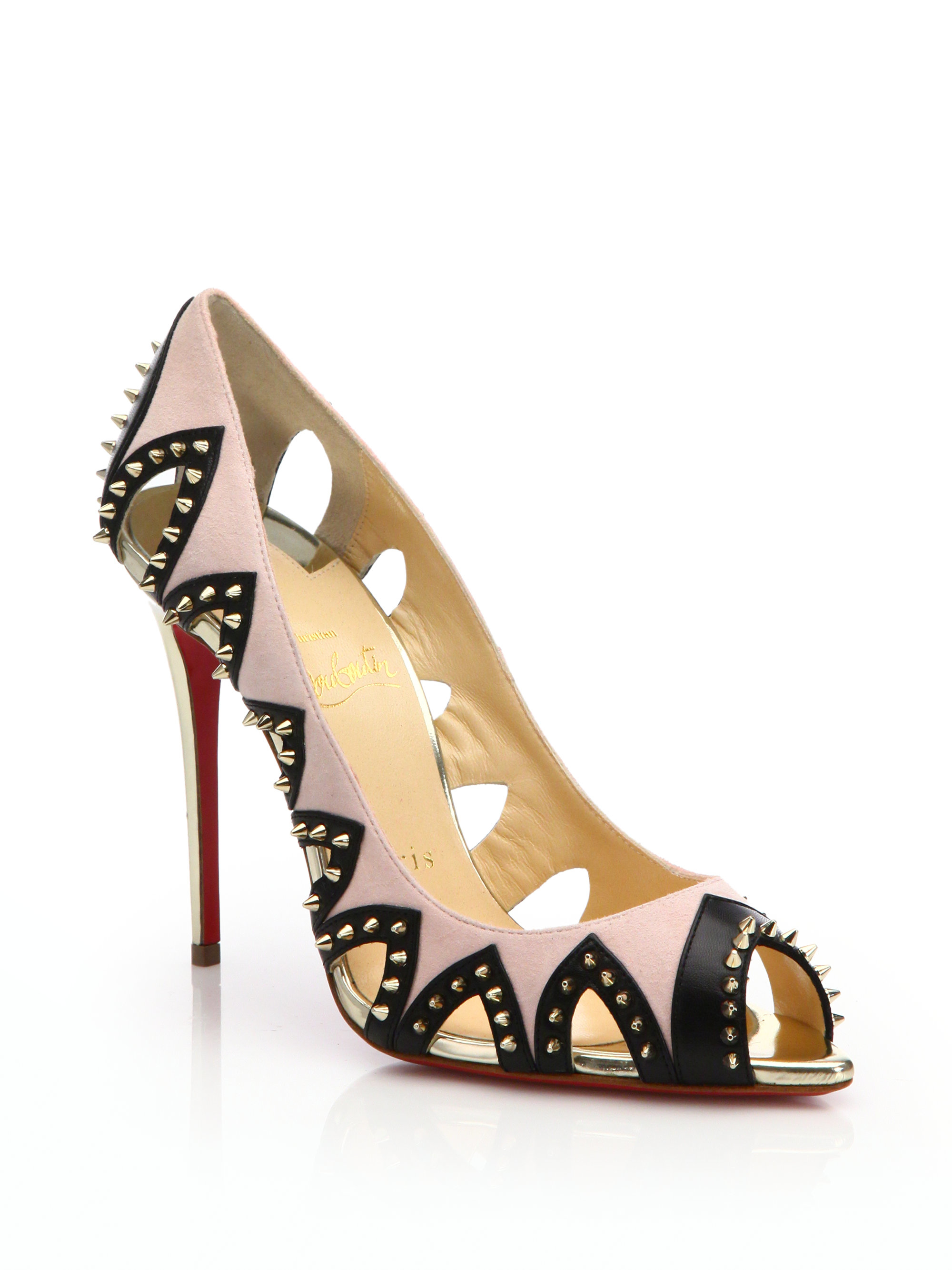 louboutin shoes prices - christian louboutin caged sandals Multicolor glitter cutouts | The ...