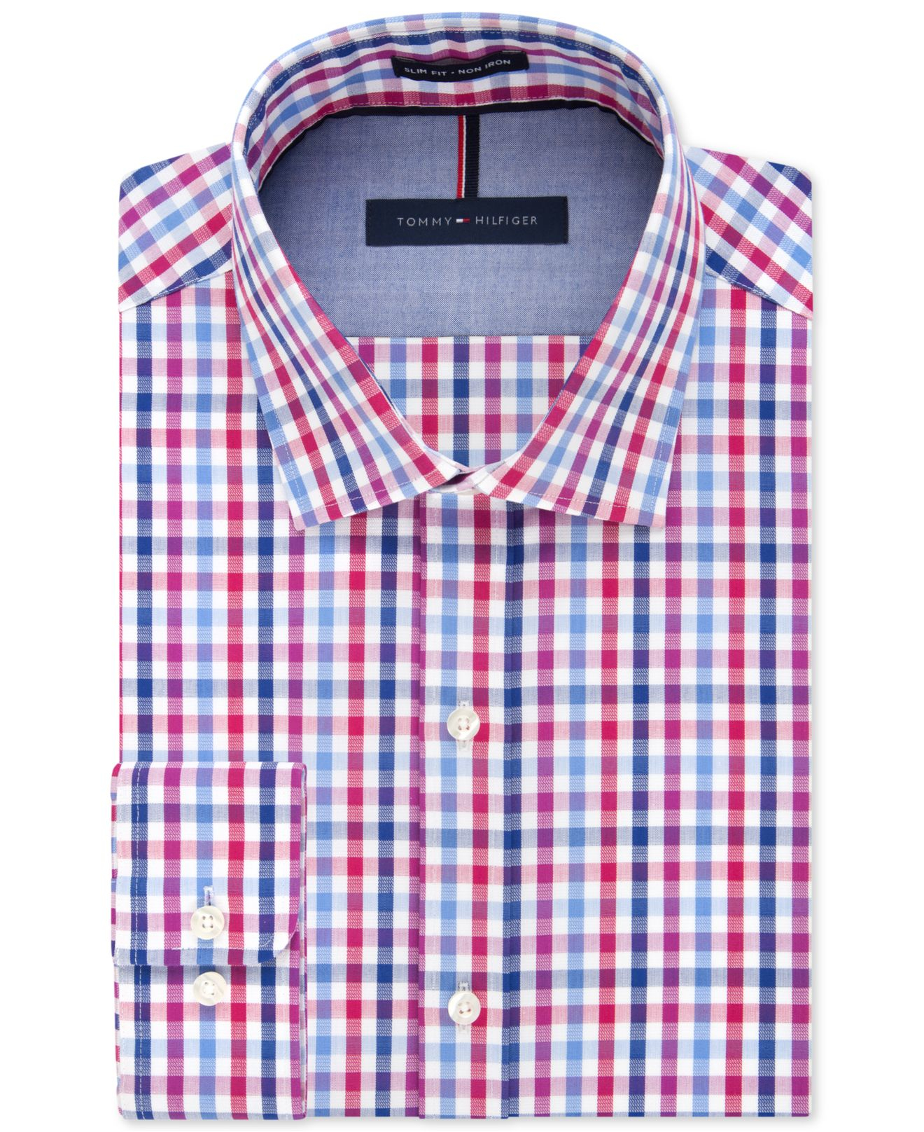 Tommy hilfiger slim fit non iron raspberry multi check for Slim fit non iron dress shirts