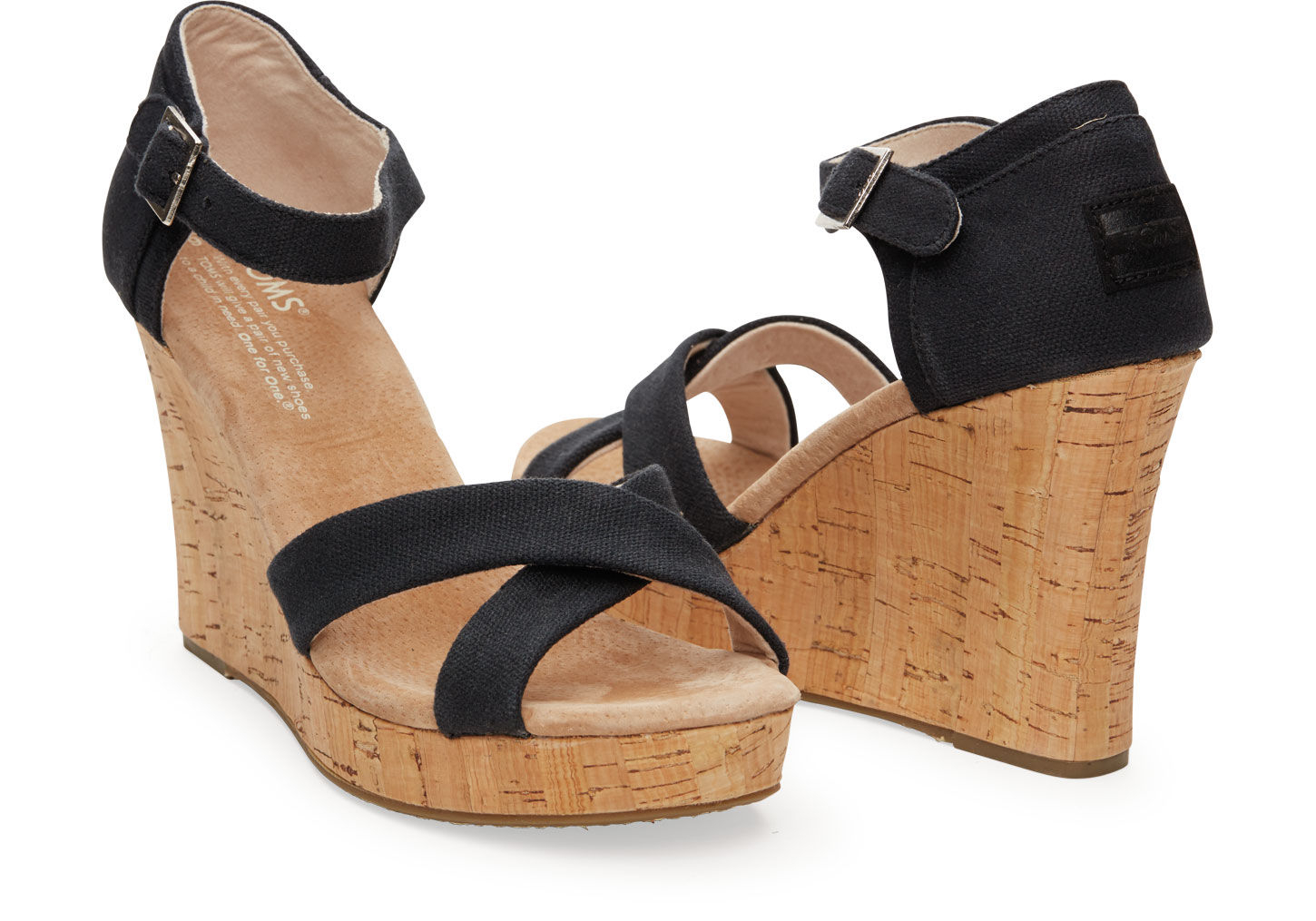 Toms Shoes Black Canvas Wedge