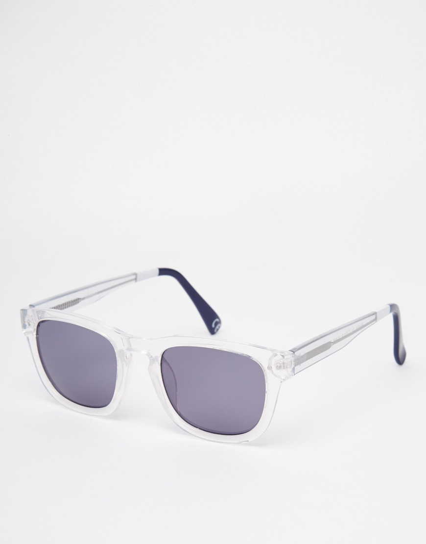 0670faedf4b Lyst - ASOS Square Wayfarer Sunglasses With Clear Frame And Color ...