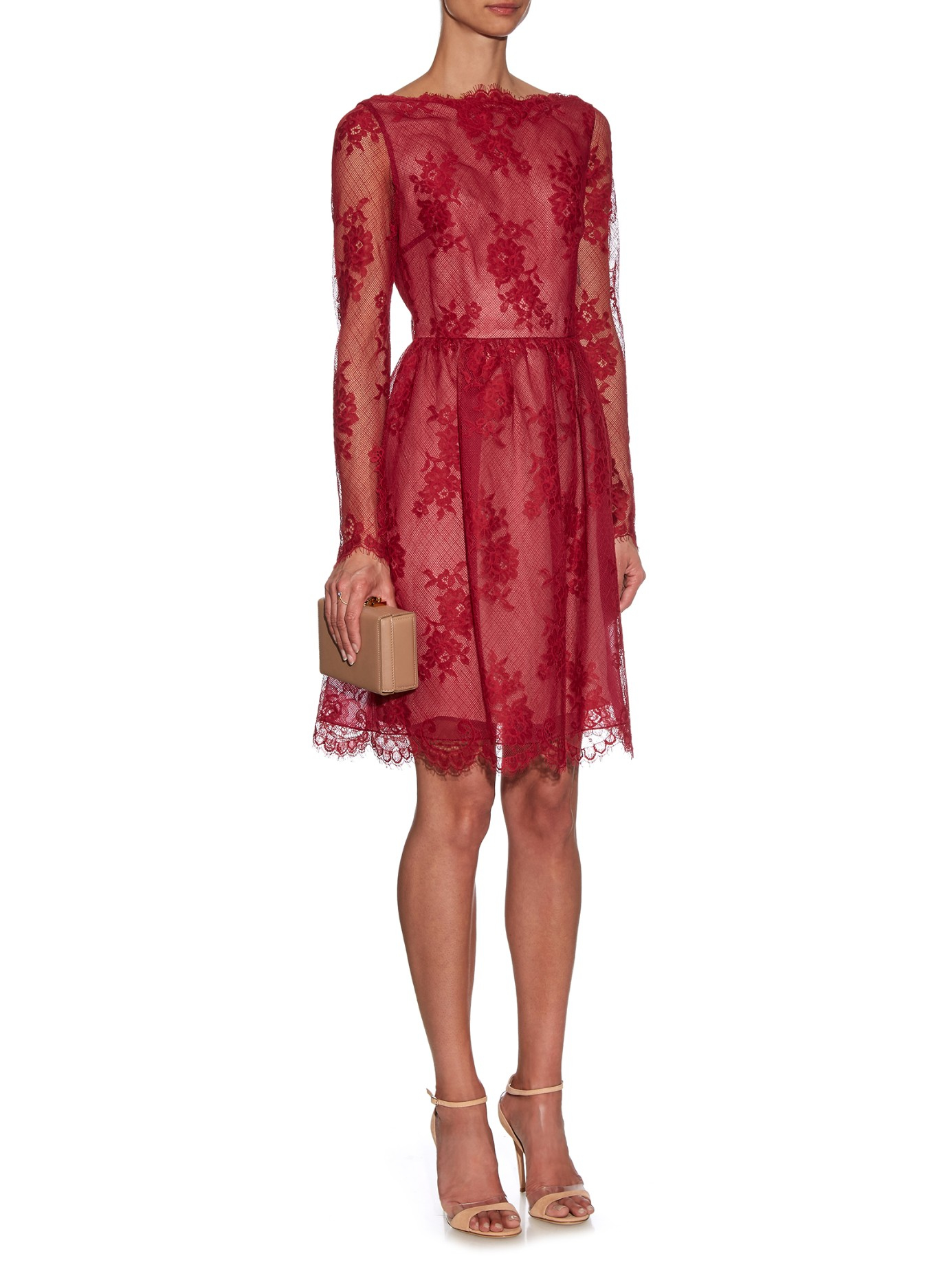 Erdem Dolores Floral-lace Dress in Red - Lyst