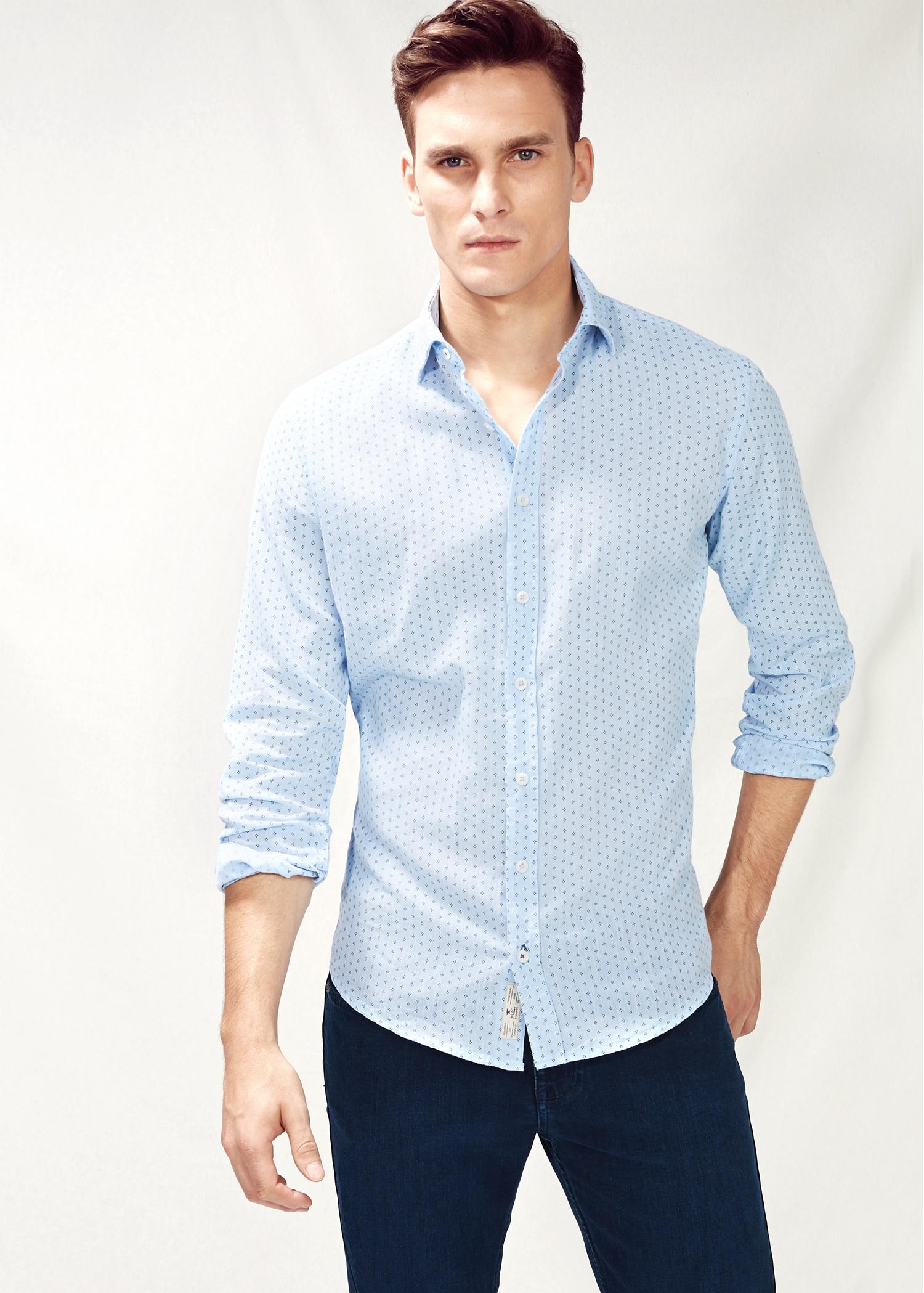 d15f1a5ea9f Mango Slim-Fit Tie Print Linen-Blend Shirt in Blue for Men - Lyst