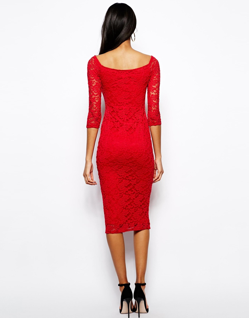 Lyst Asos Off The Shoulder Midi Lace Bodycon Dress In Red