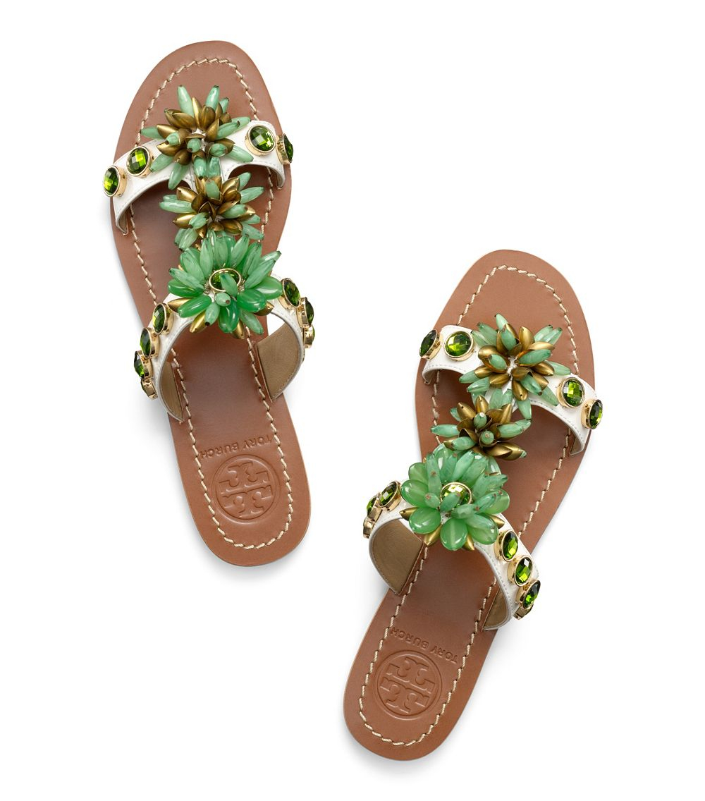 793650812ca387 ... coupon code for lyst tory burch sydney flat sandal in green b63bc 5692f