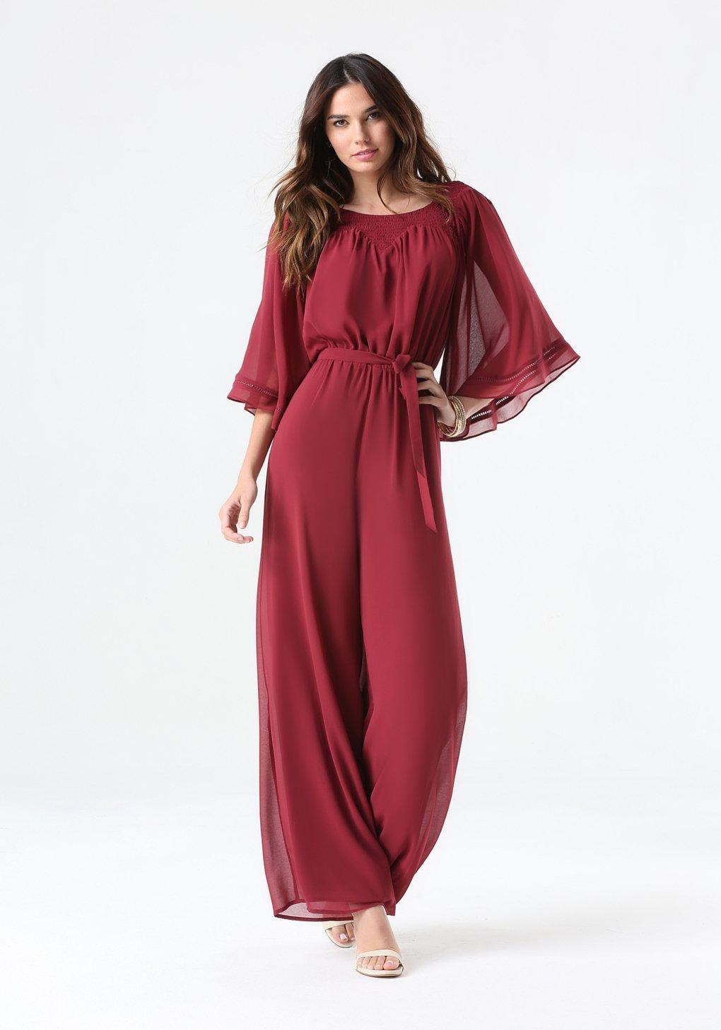 Bebe Kimono Sleeve Jumpsuit in Red   Lyst