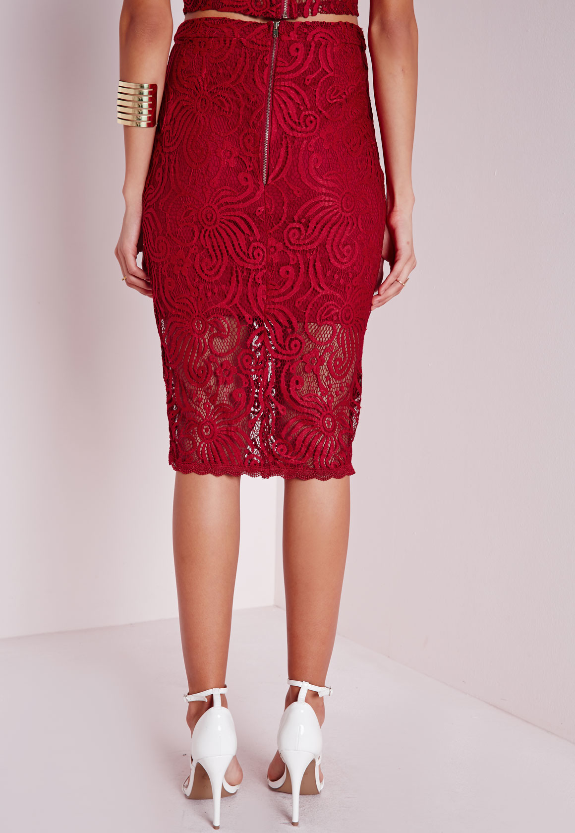 missguided lace midi skirt in lyst
