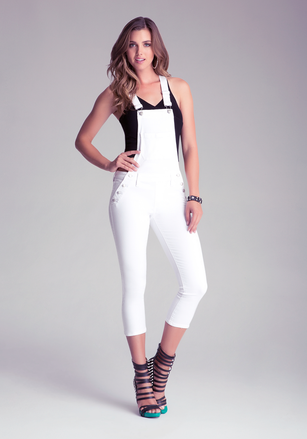 Bebe Sexy Cropped White Overalls In White Lyst