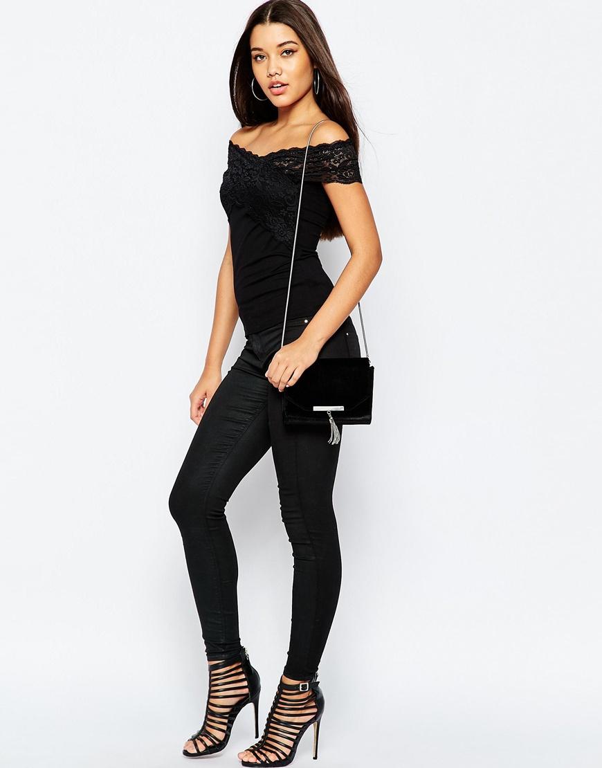 b06a0e87625 ASOS Sleeveless Wrap Lace Off Shoulder Top - Black