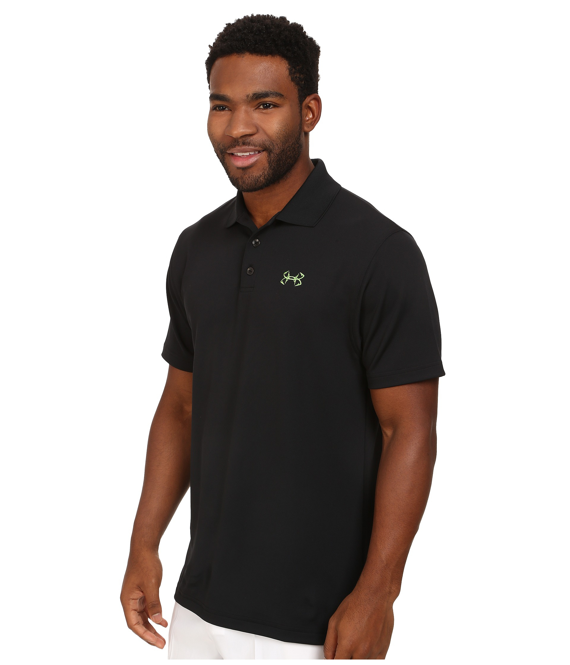 Under armour ua fish hook polo shirt in black for men lyst for Polo shirt with fish logo