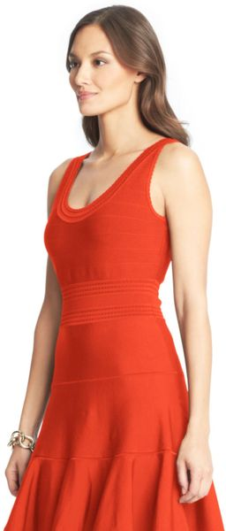 Dvf Perry Structured Flare Dress Flare Dress in Red chili