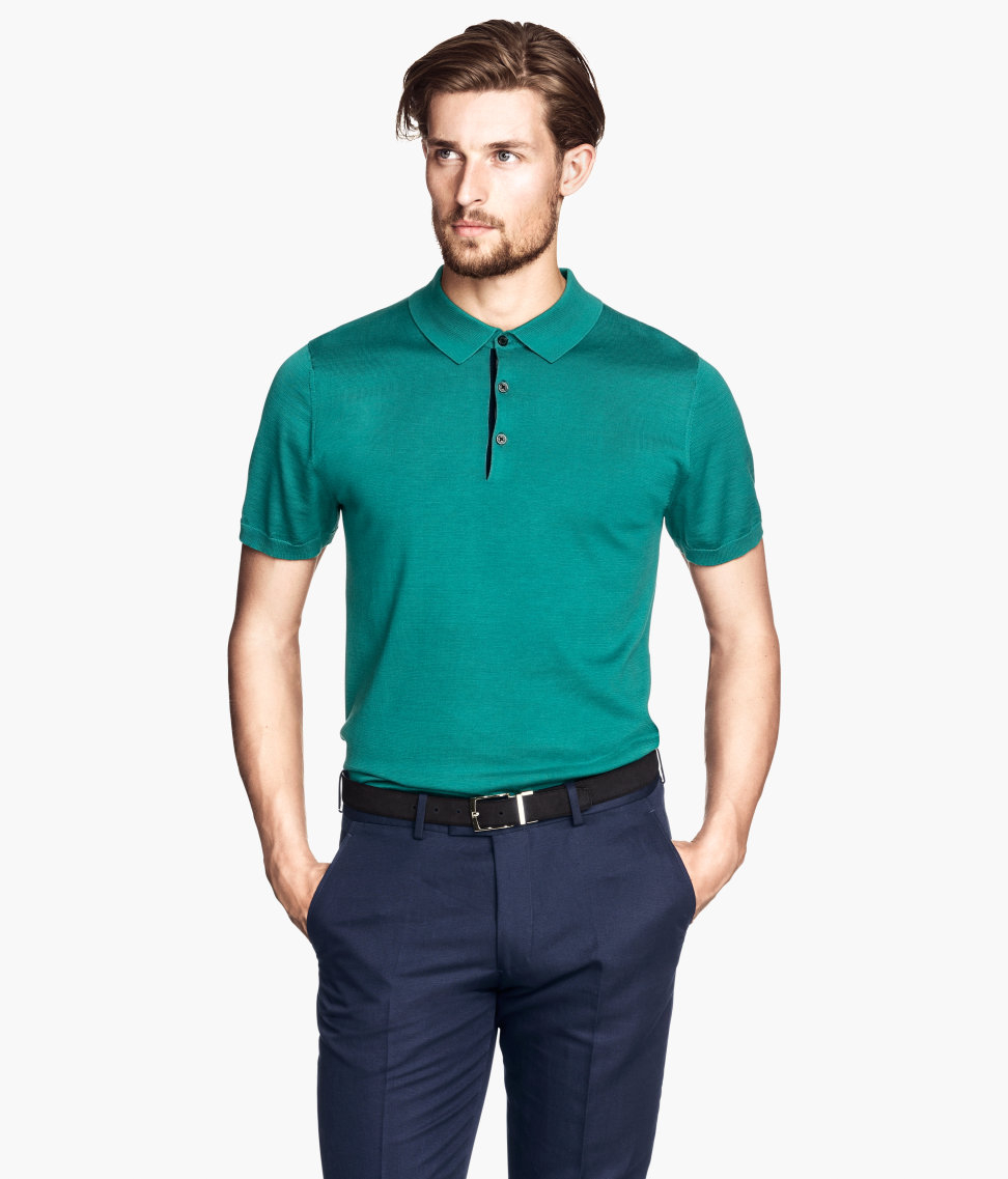 H m polo shirt in a silk mix in green for men lyst Man in polo shirt