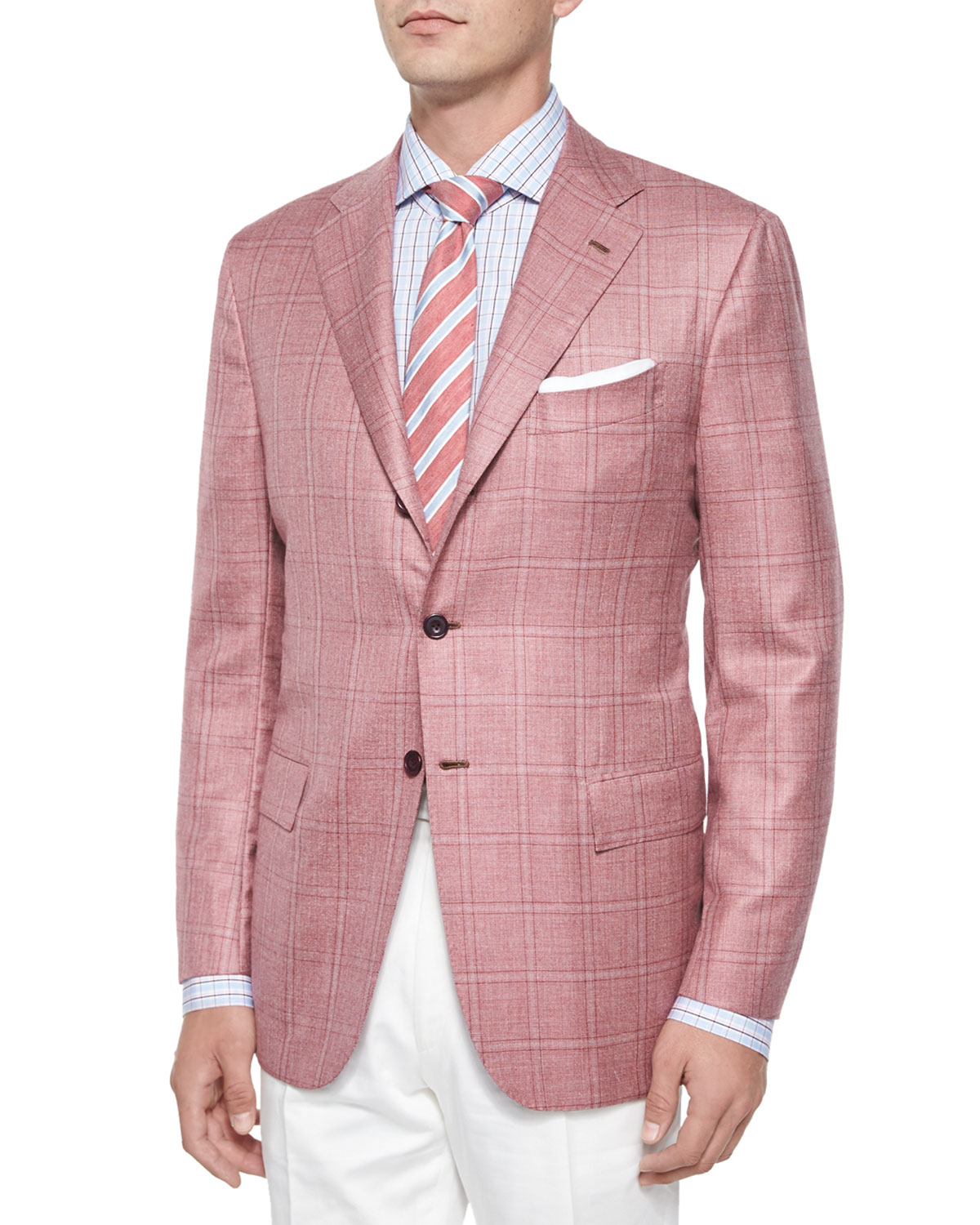 Kiton Cashmere/silk Plaid Two-button Jacket in Pink for ...