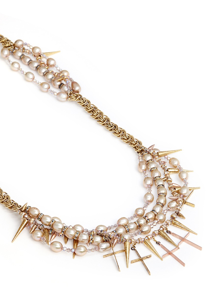 Erickson Beamon Iron Butterfly' Cross Pendant Glass Pearl Necklace in Metallic