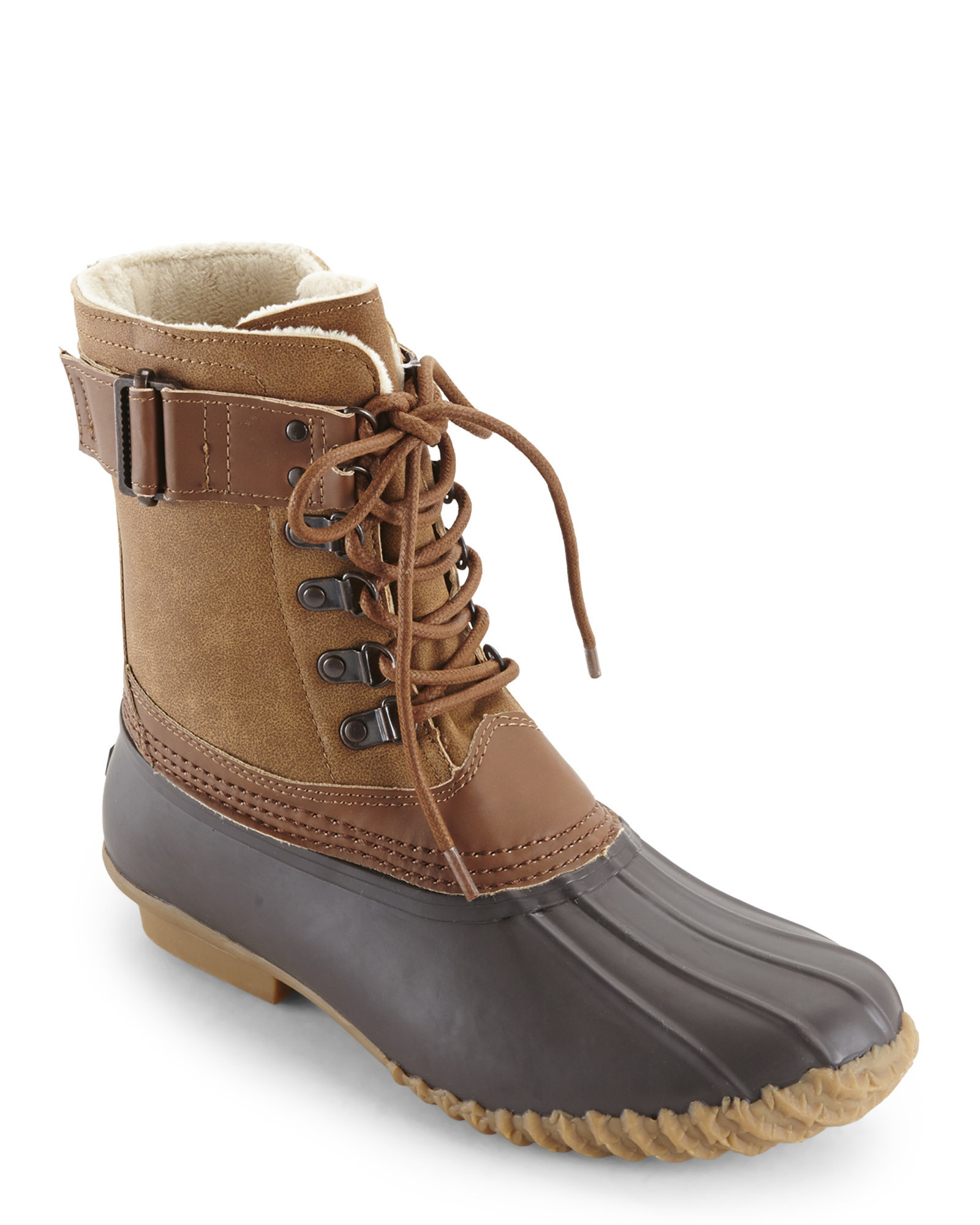 Lyst Esprit Whiskey Amp Brown Fleece Lined Duck Boots In Brown