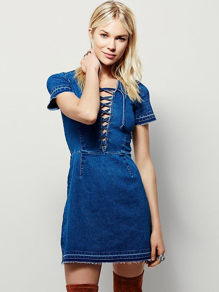 Free People Dana Denim Dress In Blue Lyst