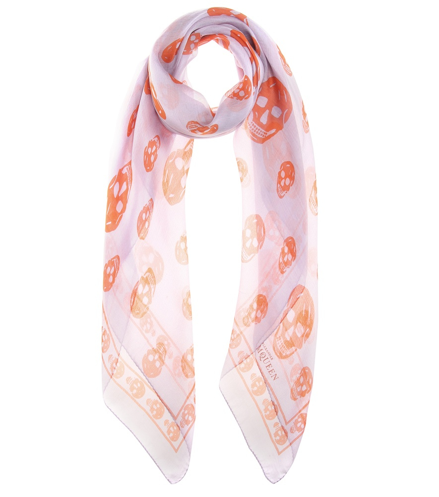 mcqueen printed scarf in purple lyst