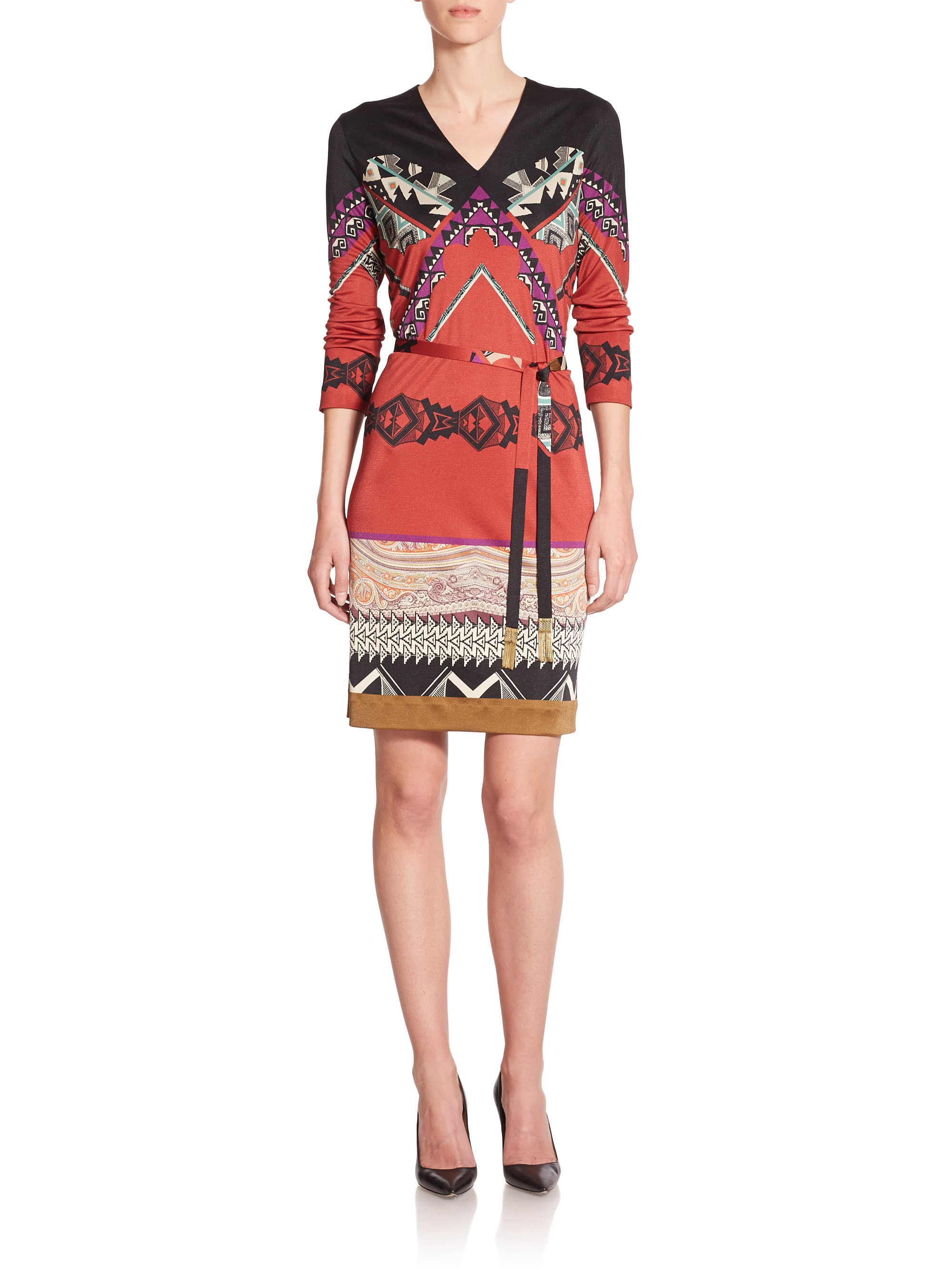 etro belted jersey tunic dress in black lyst