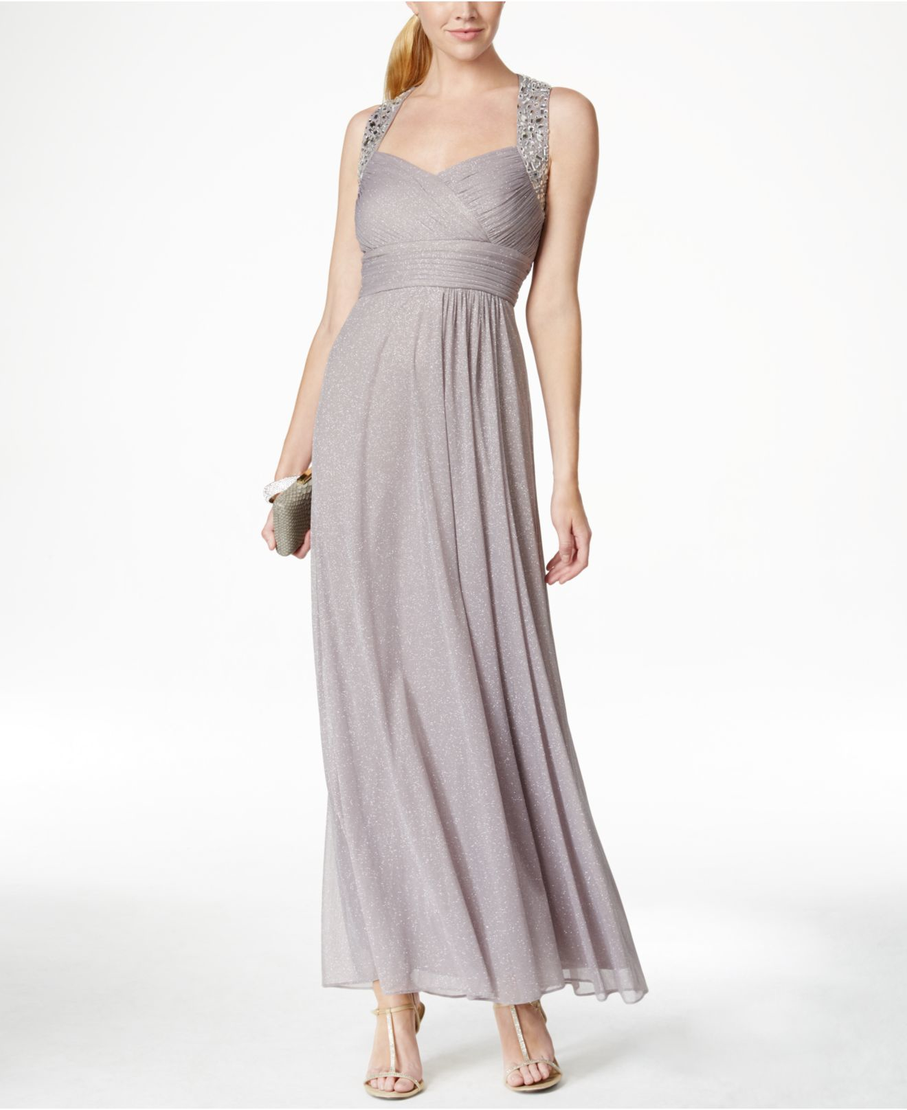 Lyst - Alex Evenings Embellished Glitter-detail Gown in Metallic