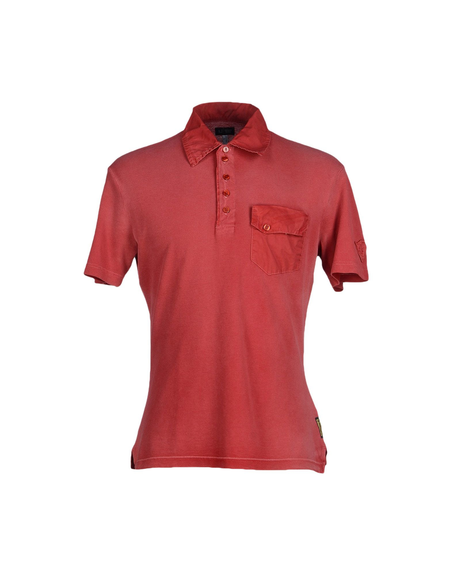 Armani jeans polo shirt in red for men lyst for Lands end logo shirts