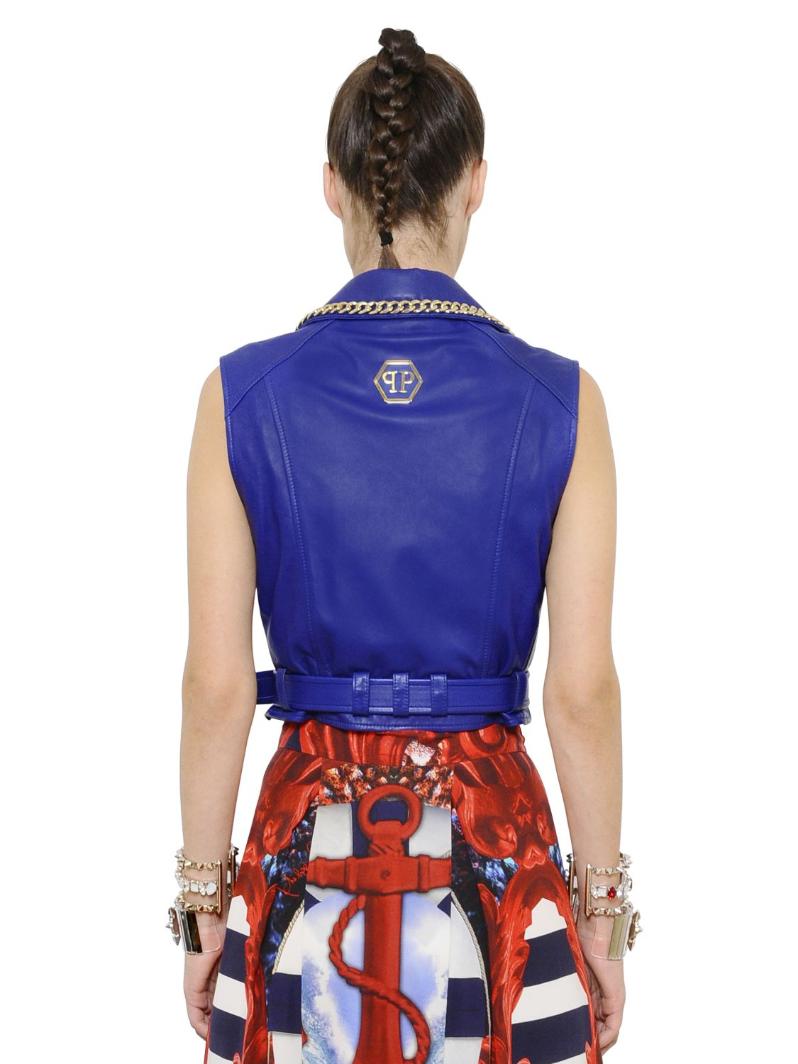 lyst philipp plein nappa leather vest with chain trim in blue. Black Bedroom Furniture Sets. Home Design Ideas