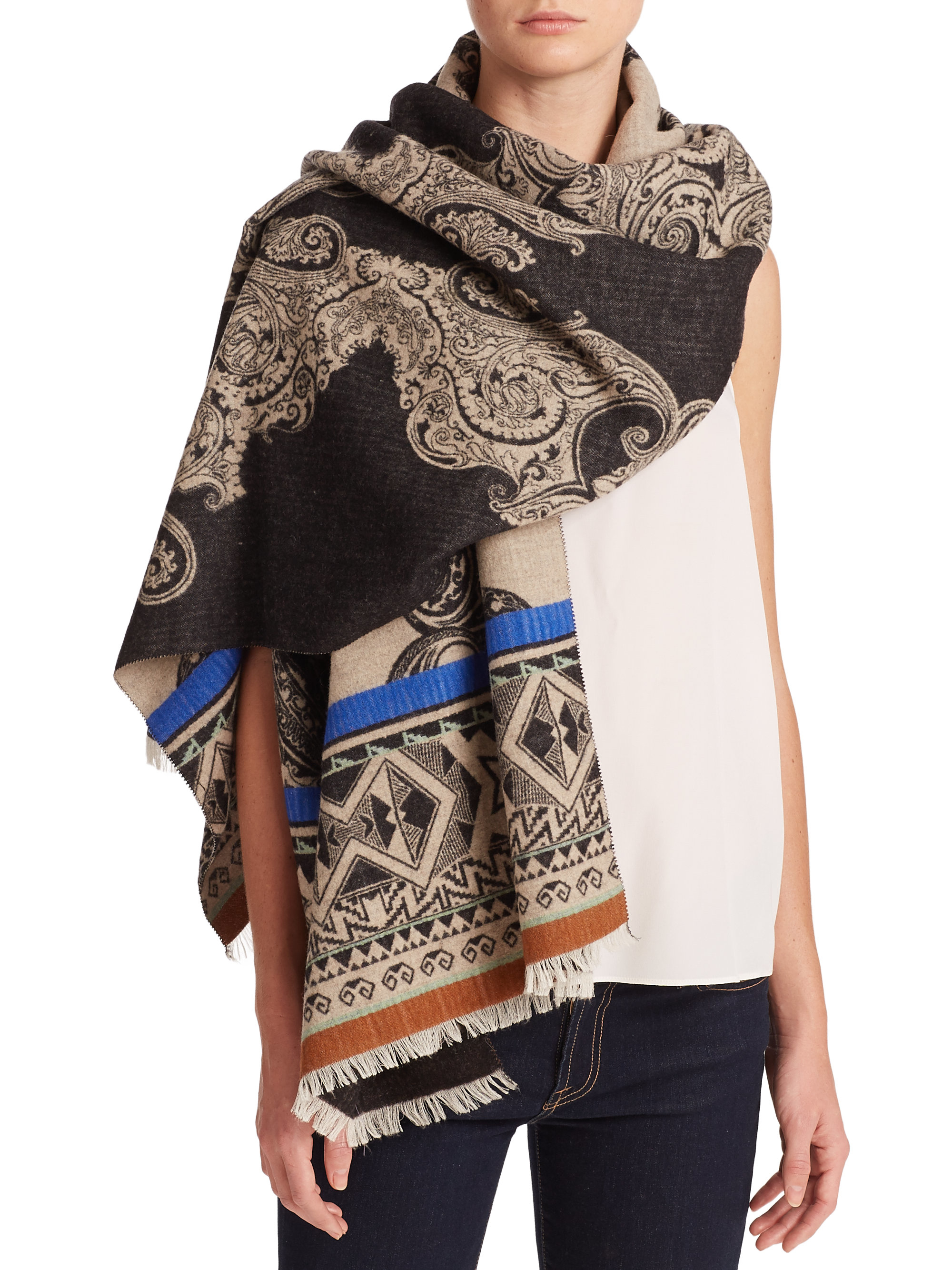 etro reversible wool silk scarf in lyst