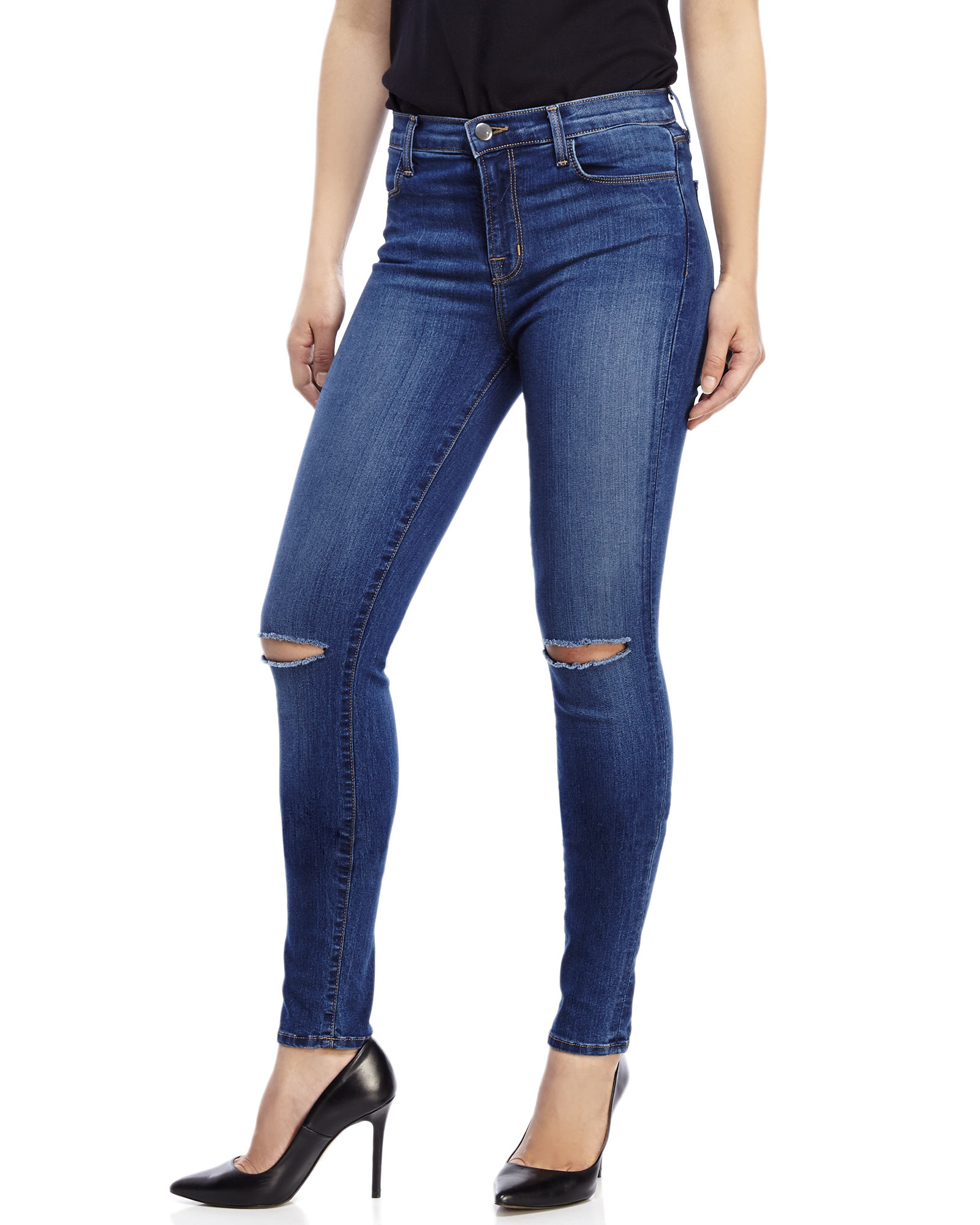 J brand Maria Distressed High-Rise Skinny Jeans in Blue   Lyst