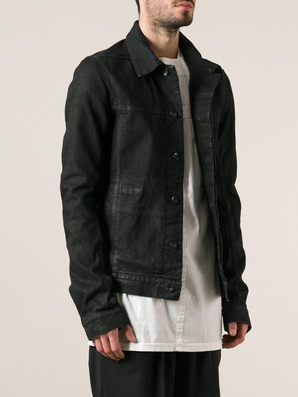 lyst rick owens drkshdw denim worker jacket in black for men