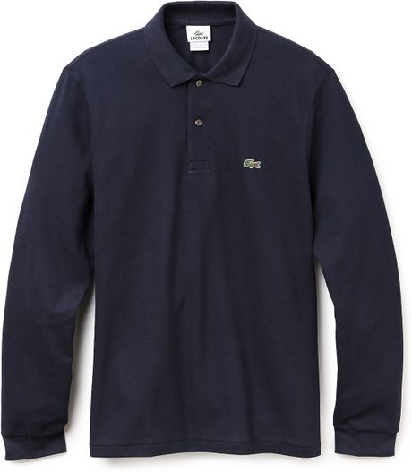 Lacoste Long Sleeve Classic Polo Shirt In Blue For Men