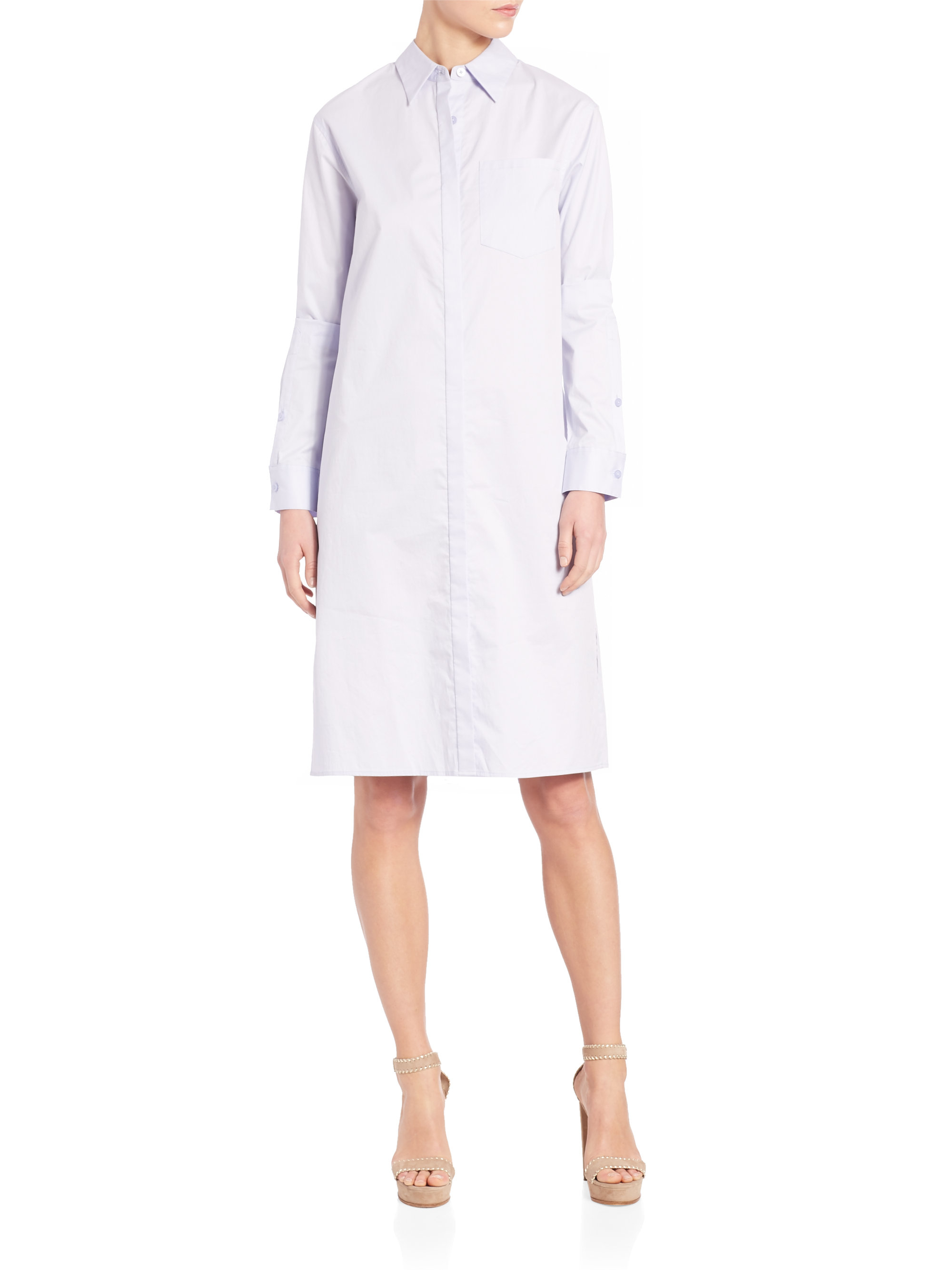 a2bf851c9a9 Lyst - DKNY Long Sleeve Collared Shirtdress in White