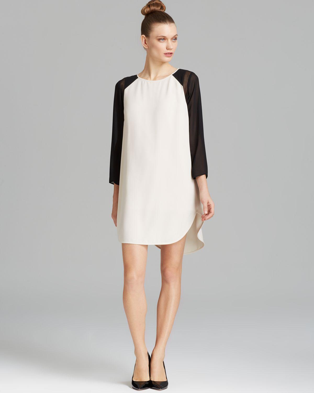 Dkny Three Quarter Sleeve Chiffon Tunic Dress in White | Lyst