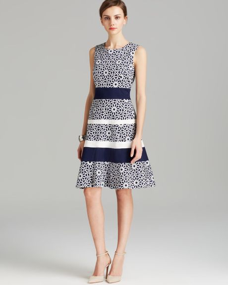 Anne Klein Dress Sleeveless Print Swing Fit And Flare In