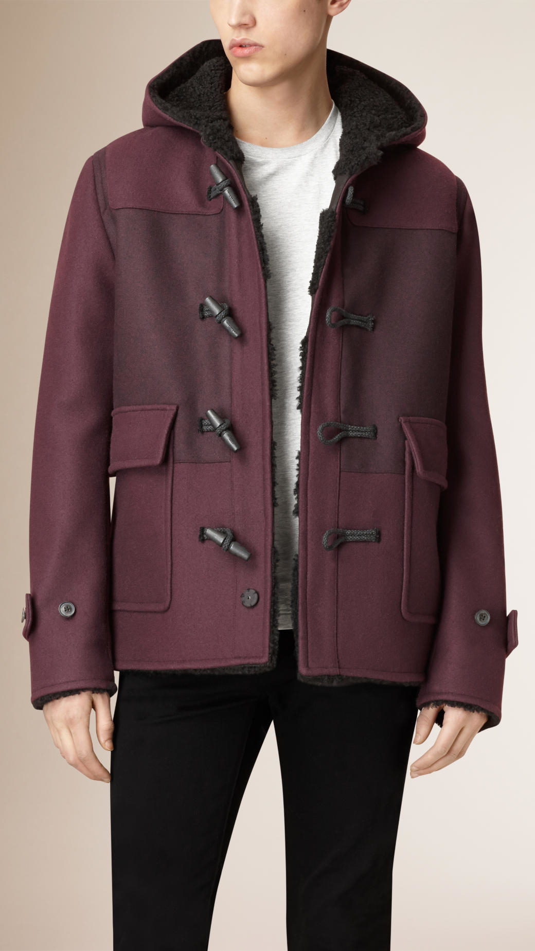Burberry Shearling-lined Wool Blend Duffle Coat in Purple for Men ...