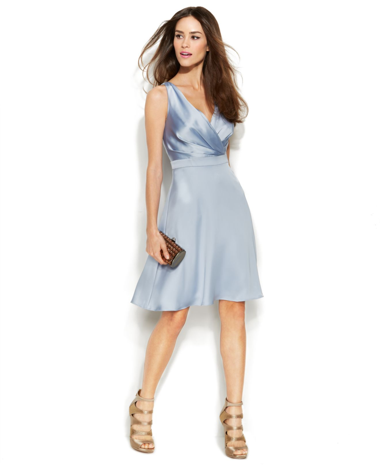 Calvin Klein Sleeveless Satin Surplice Neck Dress In Light