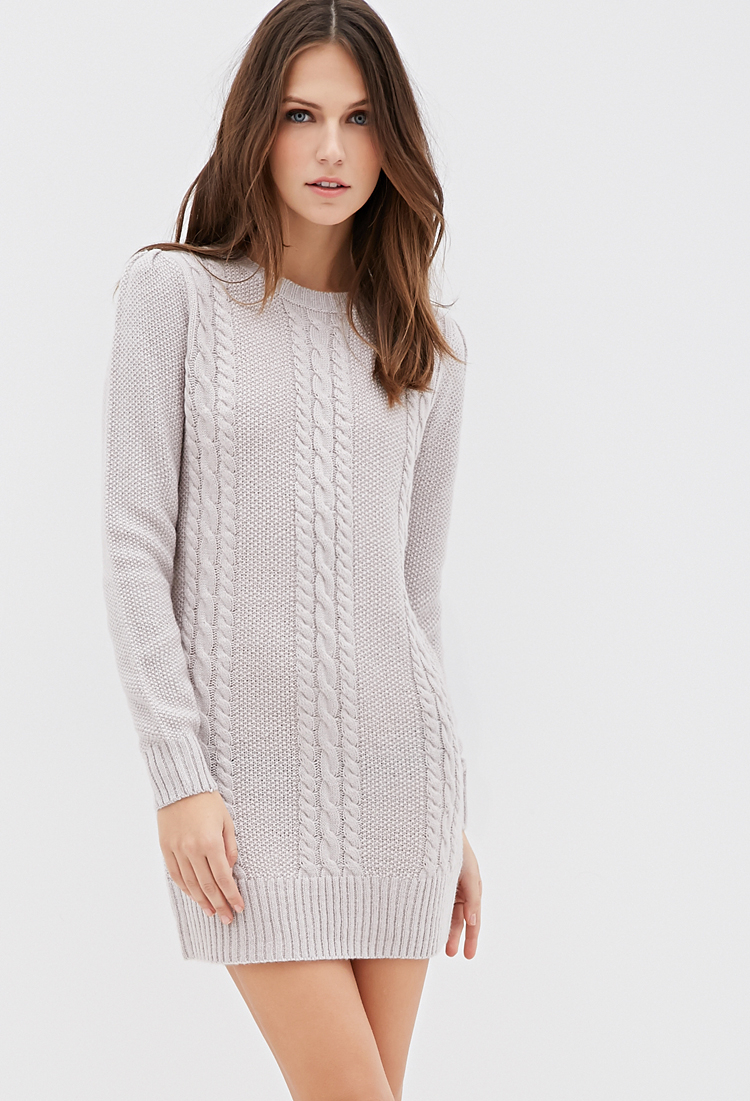 Forever 21 Cable Knit Sweater Dress In Gray Lyst