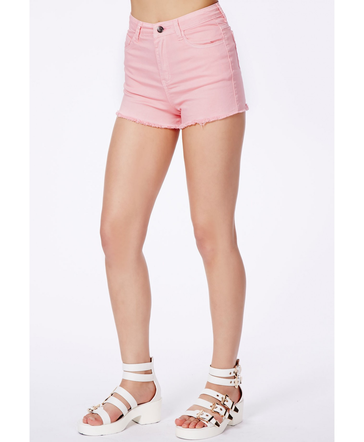 Missguided Linsa Baby Pink High Waisted Denim Shorts in Pink | Lyst