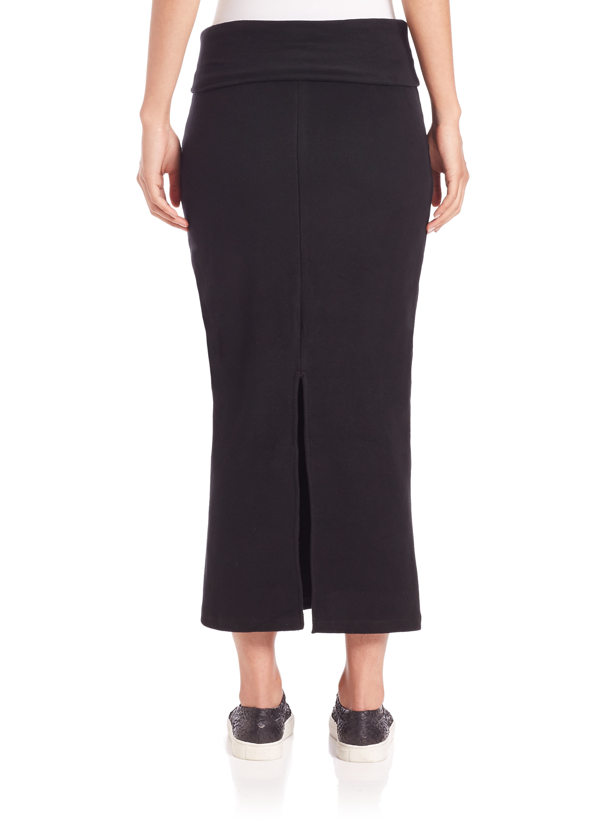 knit maxi pencil skirt in black lyst