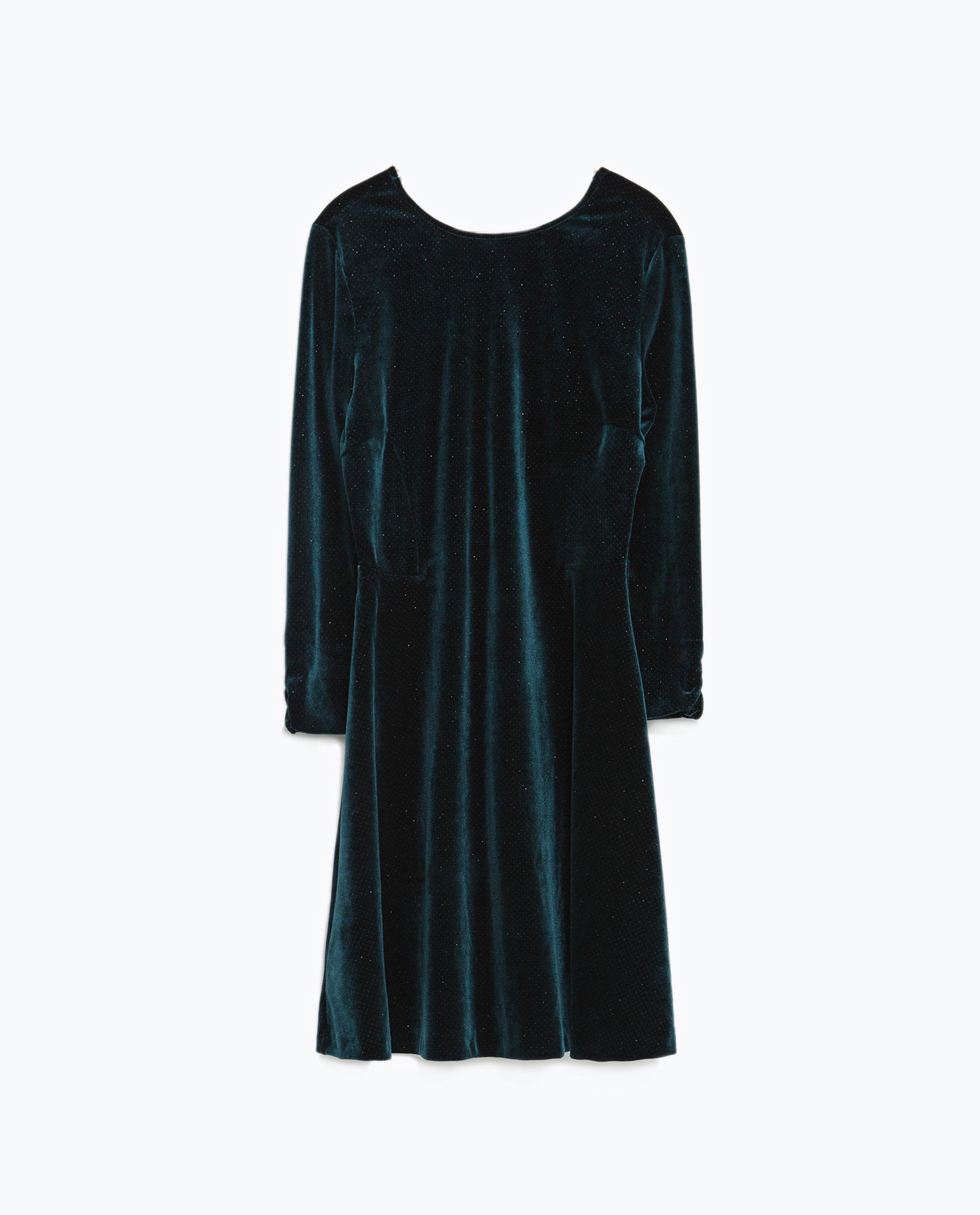Zara Sparkly Velvet Dress in Green | Lyst