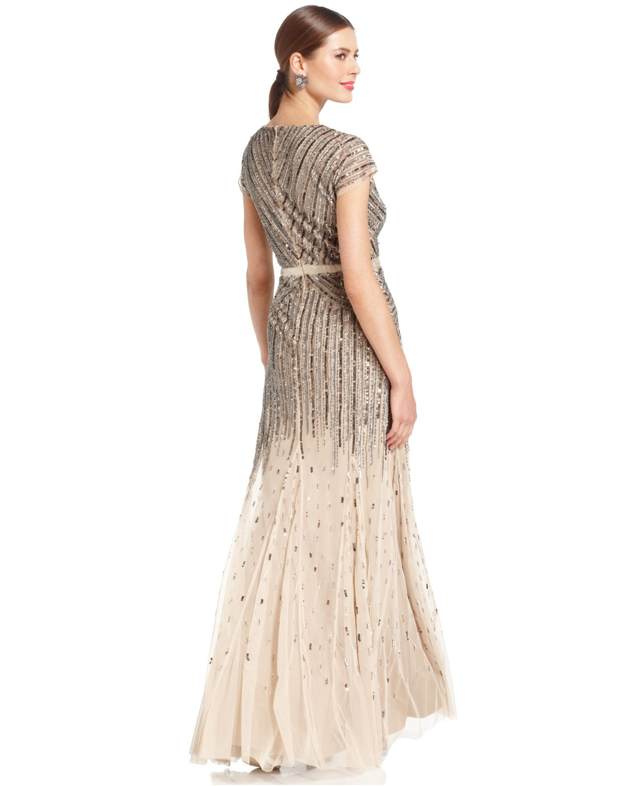 Papell cap sleeve beaded sequined gown dresses women macy s - Gallery Previously Sold At Macy S Women S Needle Thread Coppelia Women S Adrianna Papell Floral Dress