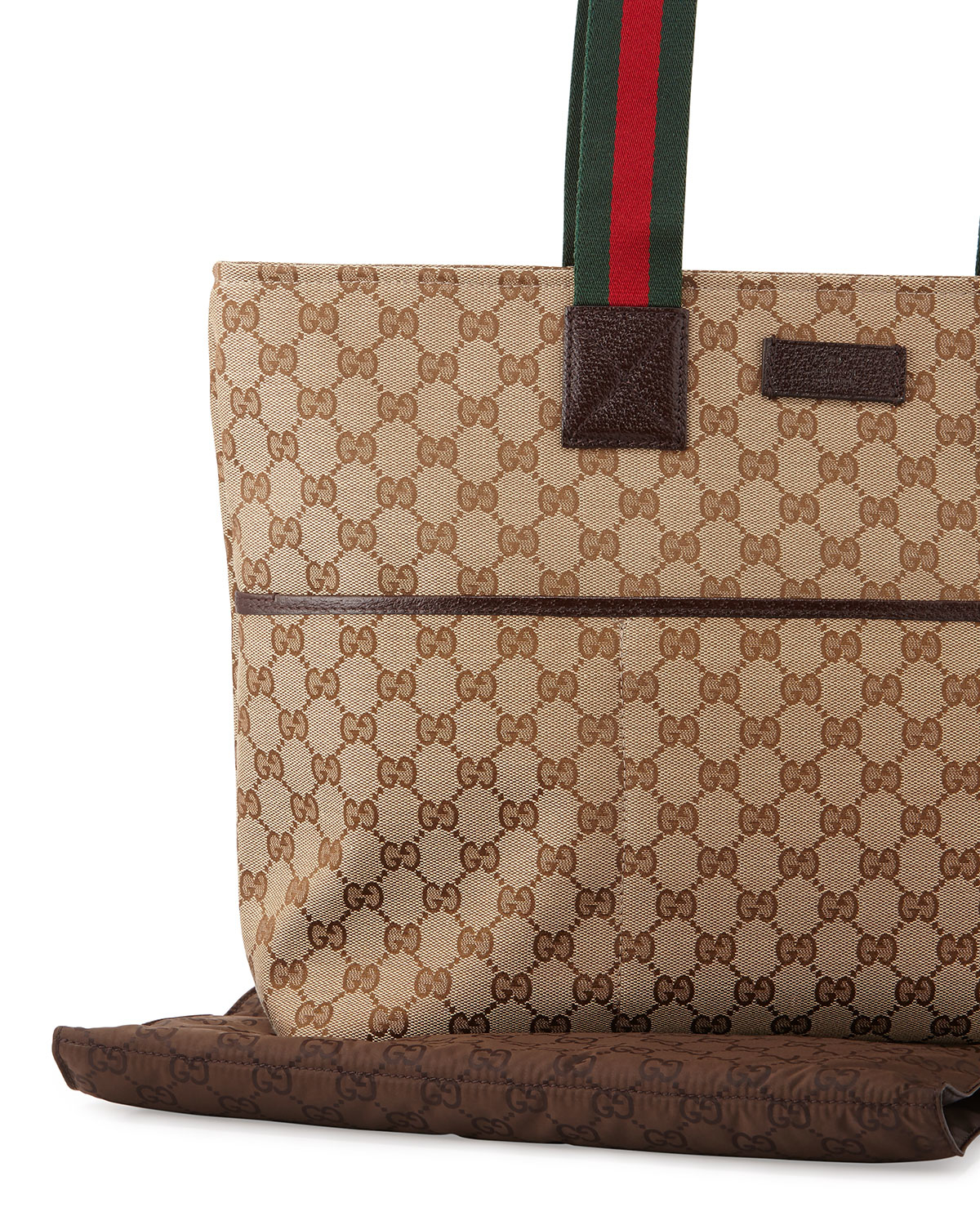 gucci travel diaper bag tote w changing pad in brown lyst. Black Bedroom Furniture Sets. Home Design Ideas