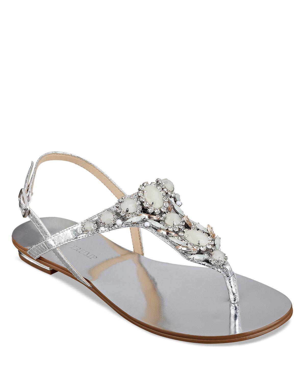 Ivanka Trump Flat Thong Sandals Jeweled In Silver