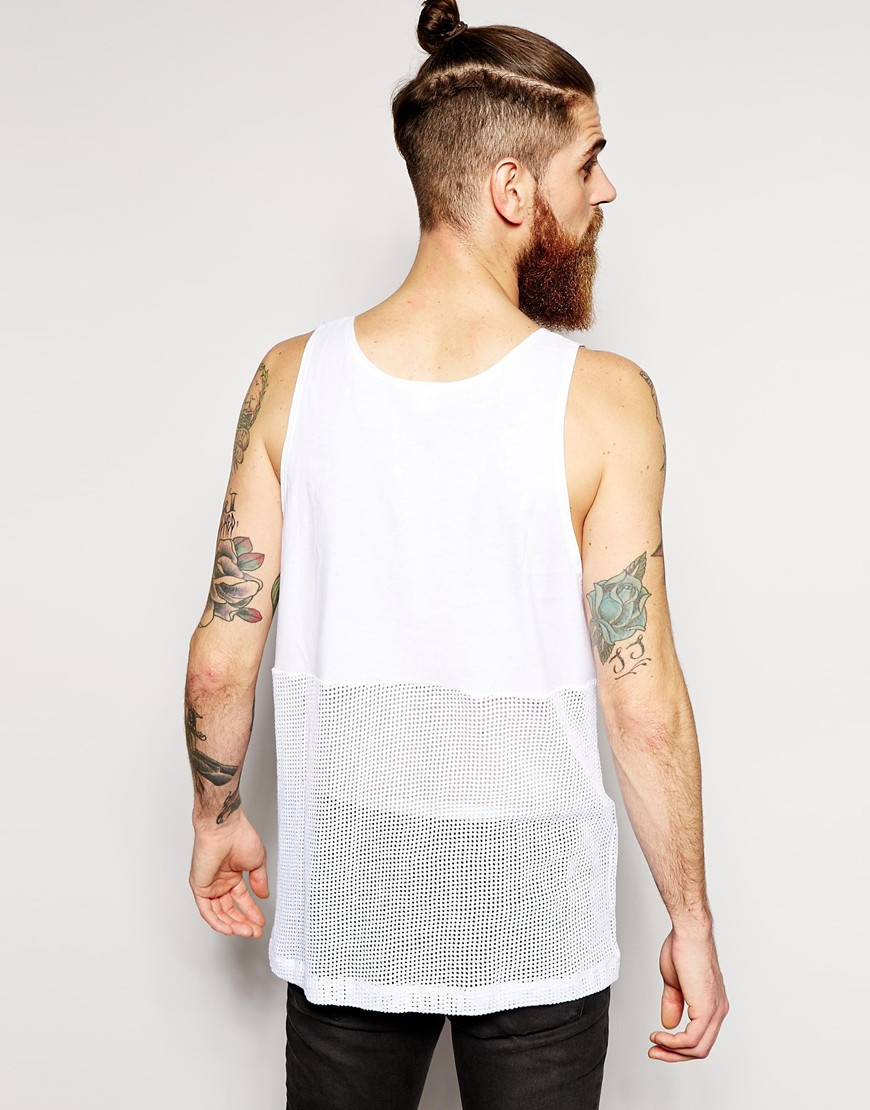 Lyst american apparel oversized waffle mesh tank in for American apparel mesh shirt