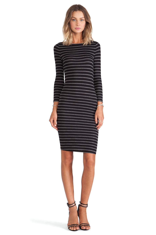 Bcbgmaxazria Long Sleeve Striped Dress in Black - Lyst
