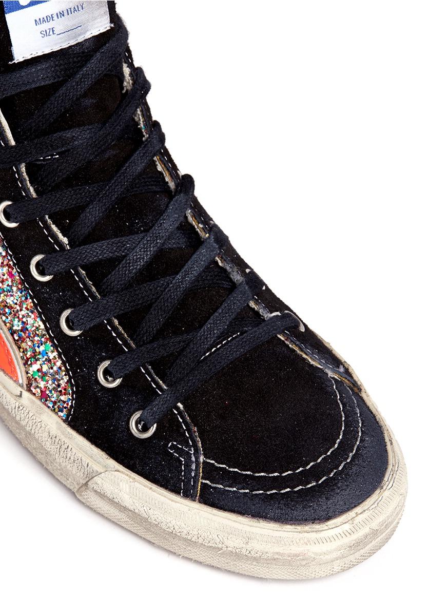 7e717f472cea Golden Goose Deluxe Brand Slide Glitter High-Top Sneakers - Lyst