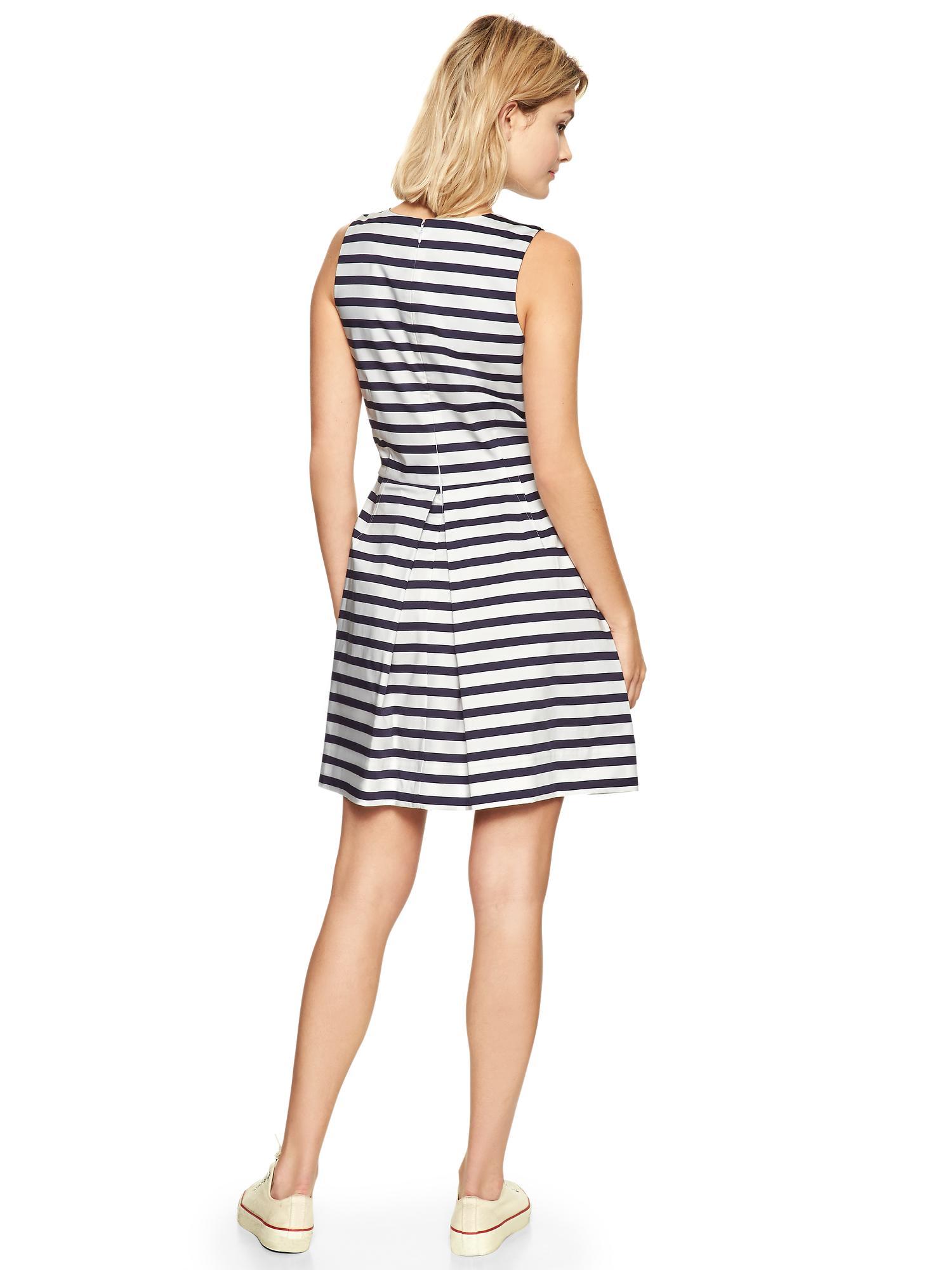 Gap Stripe Sateen Fit Amp Flare Dress In Navy Amp White Stripe