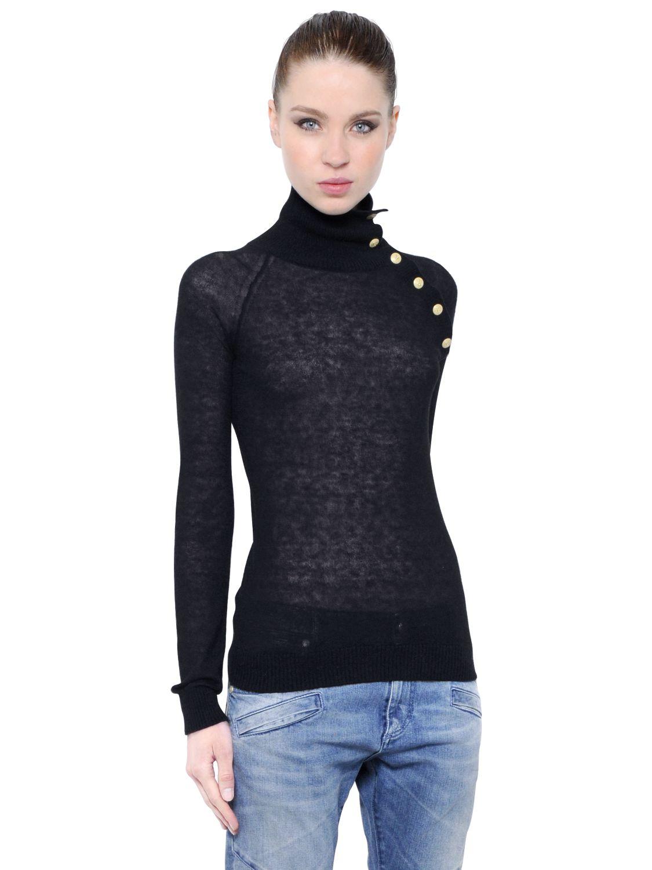 Balmain Mohair Wool Blend Turtleneck Sweater in Black | Lyst