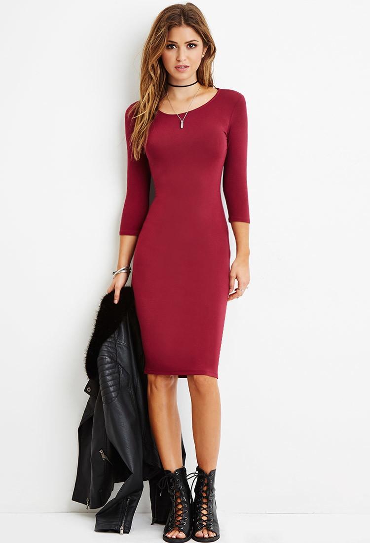 5721fa03c36 Forever 21 Bodycon Midi Dress in Red - Lyst