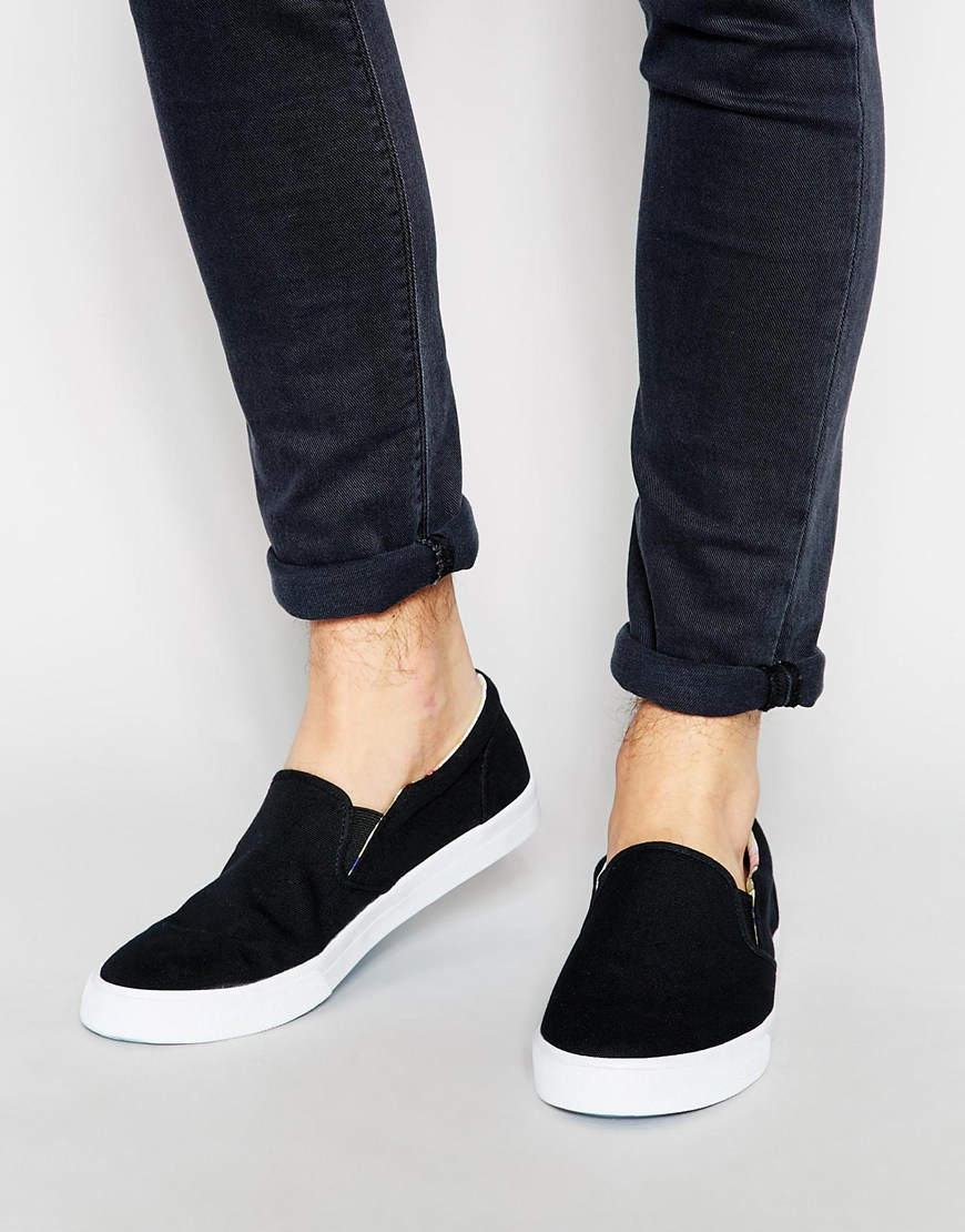 Clearance Popular Cheap Enjoy DESIGN Slip On Plimsolls In Navy With Floral Linings - Navy Asos Buy Cheap Factory Outlet WywObll