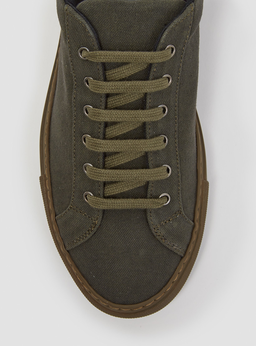 Common Projects Two-Toned Canvas Low-Top Sneakers in Army (Green)