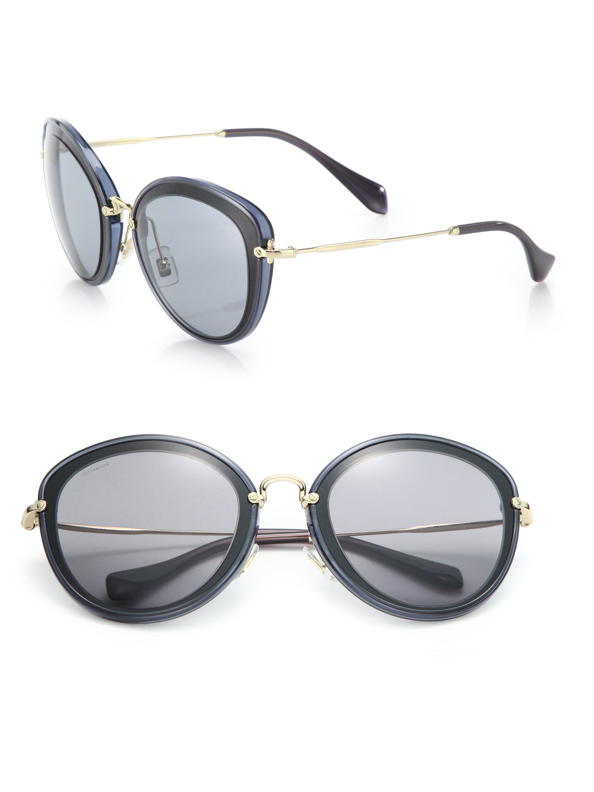 ab5b8c214cd Miu miu 54mm Metal Cat Eye Sunglasses in Black