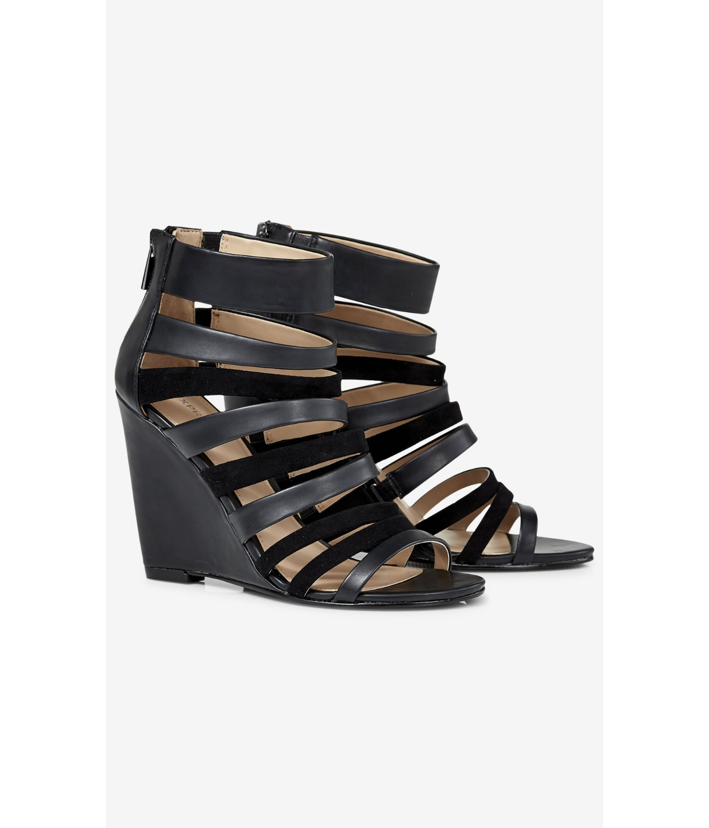 Express Strappy Wedge Sandal in Black